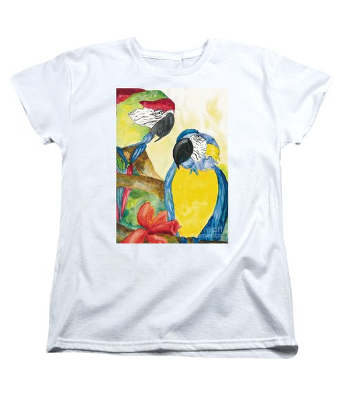 Women's T-Shirt (Standard Cut) featuring the painting Love Birds by Vicki  Housel