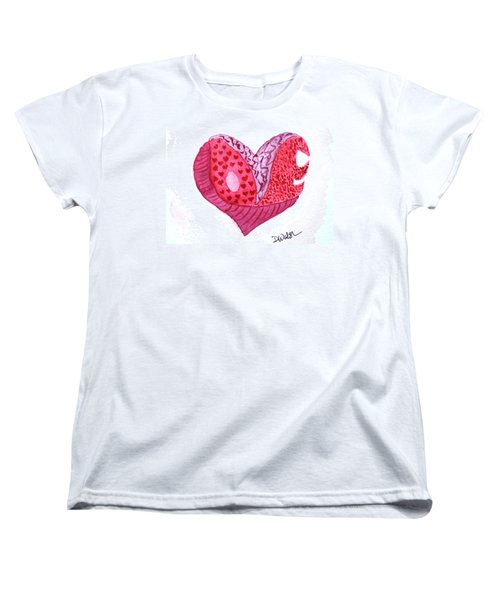 Women's T-Shirt (Standard Cut) featuring the painting Love Heart by Donna Walsh