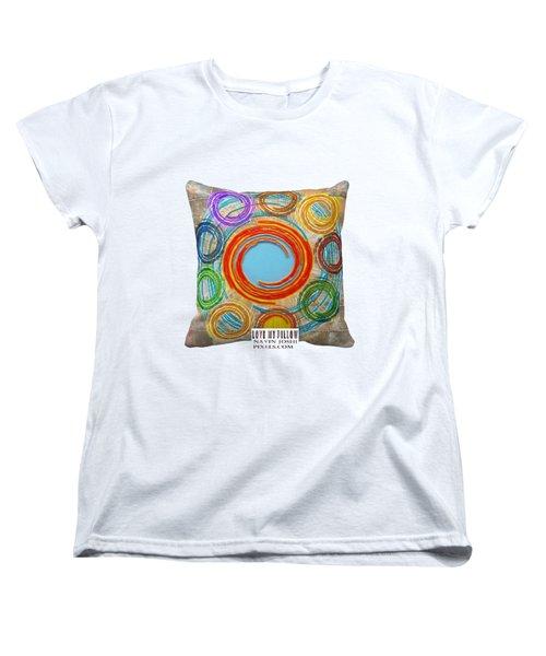 Love My Pillows Colorful Circles By Navinjoshi Artistwebsites Fineartamerica Pixels Women's T-Shirt (Standard Cut) by Navin Joshi