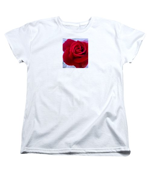 Women's T-Shirt (Standard Cut) featuring the photograph Love Red Rose by Haleh Mahbod