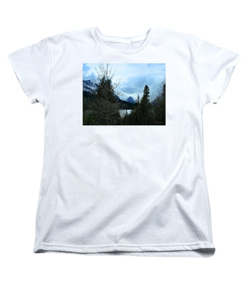Lower Two Med Lake Through The Trees Women's T-Shirt (Standard Cut)
