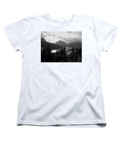 Lower Two Medicine Lake In Black And White Women's T-Shirt (Standard Cut)