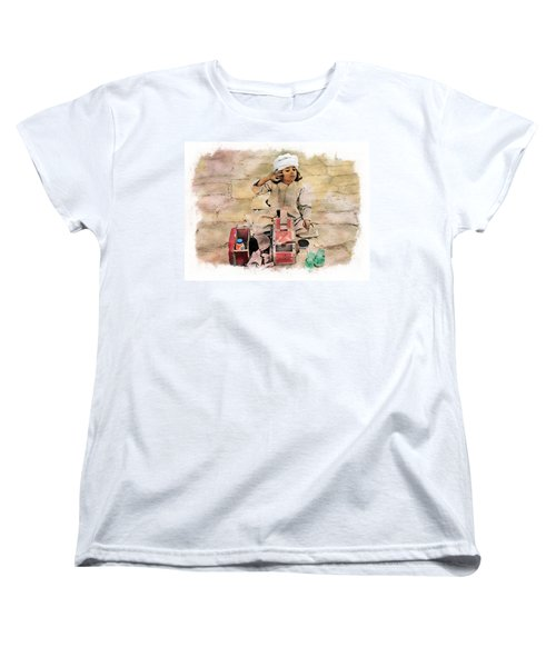 Women's T-Shirt (Standard Cut) featuring the photograph Luxor Shoeshine Girl by Joseph Hendrix