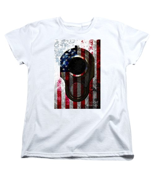 M1911 Colt 45 Muzzle And American Flag On Distressed Metal Sheet Women's T-Shirt (Standard Cut) by M L C