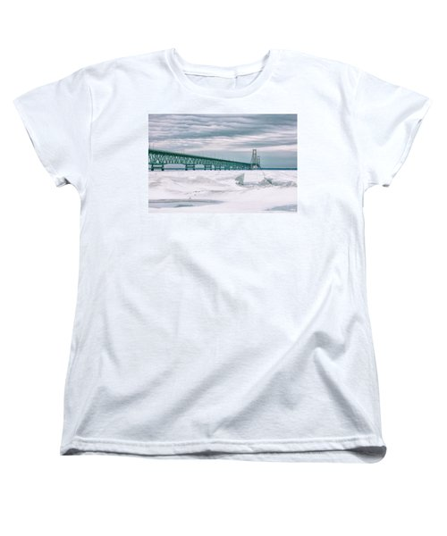 Women's T-Shirt (Standard Cut) featuring the photograph Mackinac Bridge In Winter During Day by John McGraw