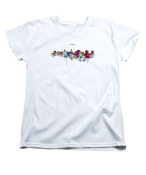 Women's T-Shirt (Standard Cut) featuring the mixed media Madison Skyline Silhouette by Marian Voicu