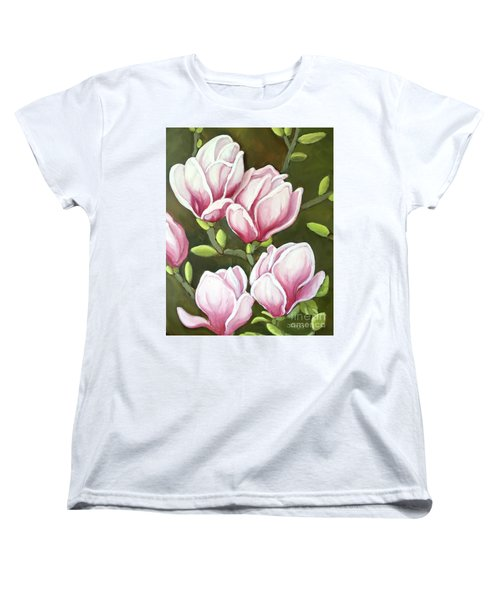 Women's T-Shirt (Standard Cut) featuring the painting Magnolias by Inese Poga