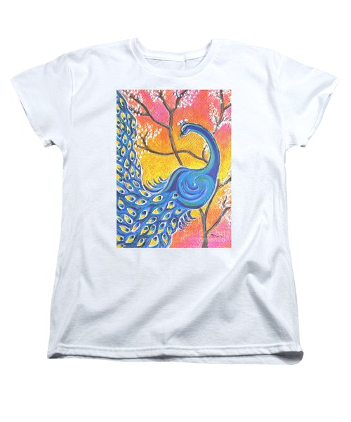 Majestic Peacock Colorful Textured Art Women's T-Shirt (Standard Cut)