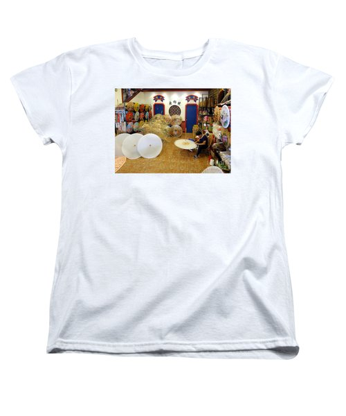 Women's T-Shirt (Standard Cut) featuring the photograph Making Chinese Paper Umbrellas by Yali Shi