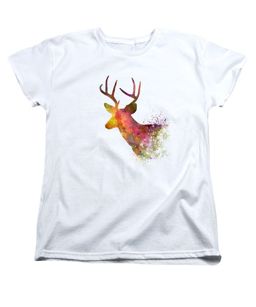 Male Deer 02 In Watercolor Women's T-Shirt (Standard Cut) by Pablo Romero