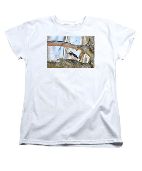 Women's T-Shirt (Standard Cut) featuring the photograph Male Downey Woodpecker 1112 by Michael Peychich