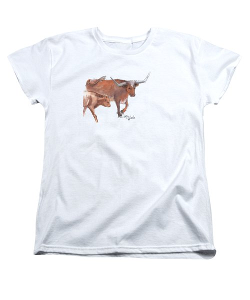 Mama And Baby Longhorn On The Run Women's T-Shirt (Standard Cut) by Kathleen McElwaine
