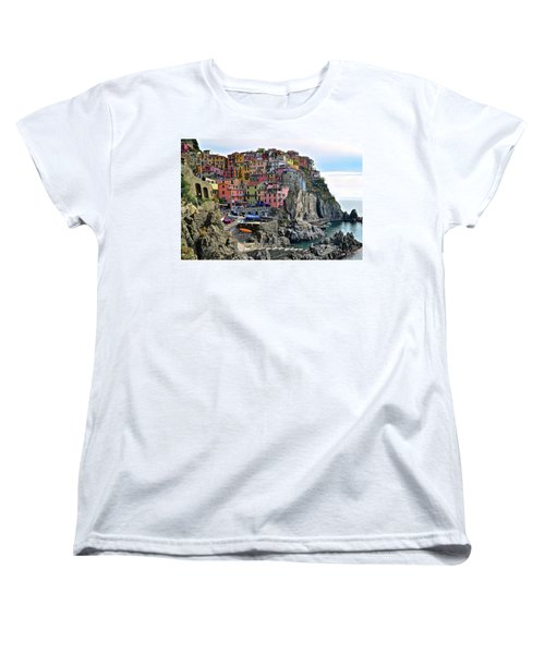 Women's T-Shirt (Standard Cut) featuring the photograph Manarola Version Four by Frozen in Time Fine Art Photography