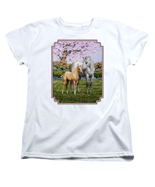 Mare And Foal Pillow Pink Women's T-Shirt (Standard Fit)