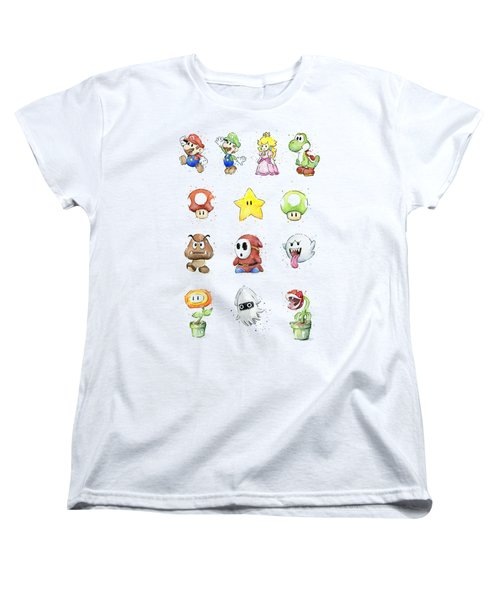 Mario Characters In Watercolor Women's T-Shirt (Standard Cut) by Olga Shvartsur