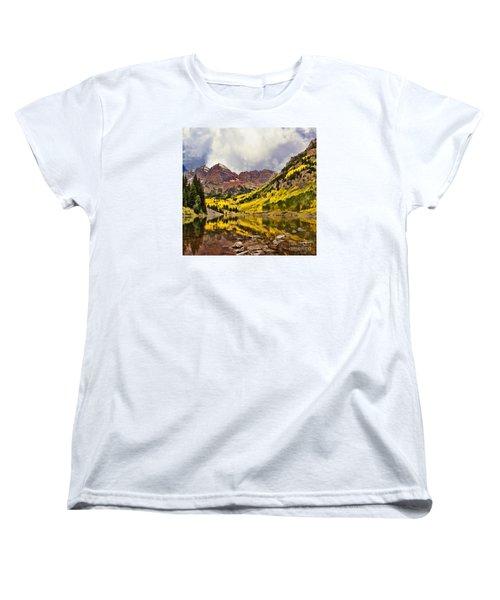 Maroon Bells Lake Women's T-Shirt (Standard Cut) by Steven Parker