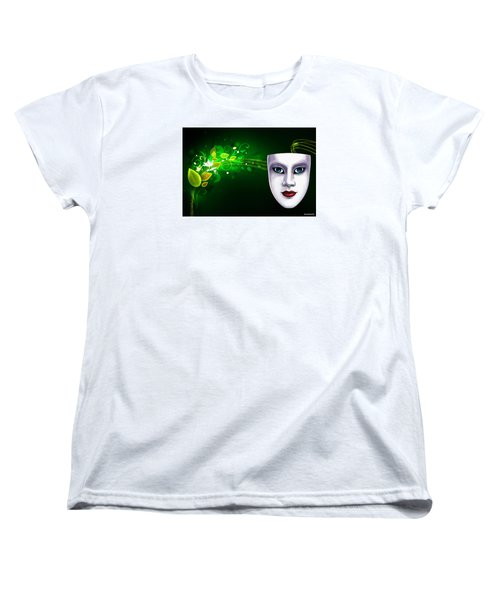 Mask Blue Eyes On Green Vines Women's T-Shirt (Standard Cut) by Gary Crockett
