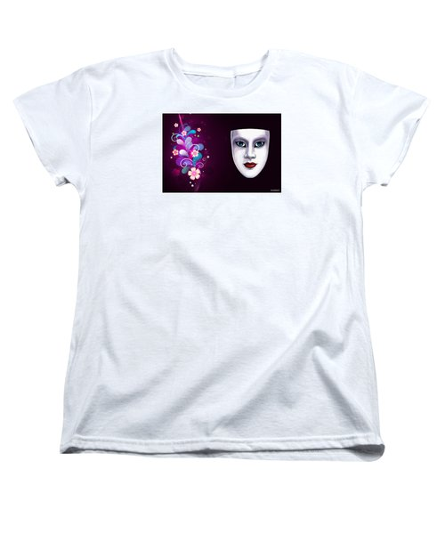 Women's T-Shirt (Standard Cut) featuring the photograph Mask With Blue Eyes Floral Design by Gary Crockett
