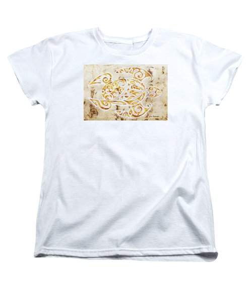 Women's T-Shirt (Standard Cut) featuring the painting Mayan Turtle by J- J- Espinoza