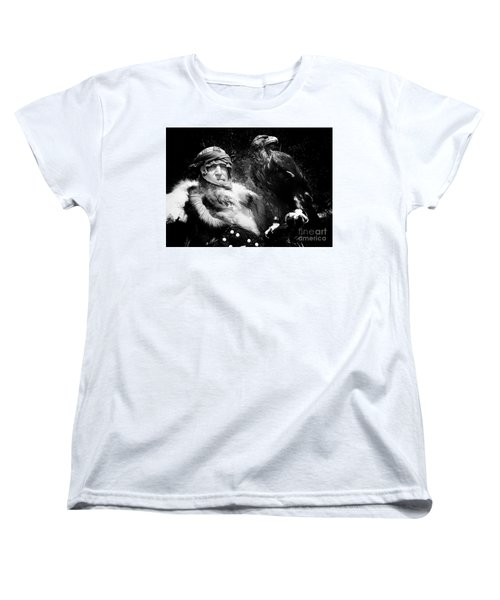 Women's T-Shirt (Standard Cut) featuring the photograph Medieval Fair Barbarian And Golden Eagle by Bob Christopher
