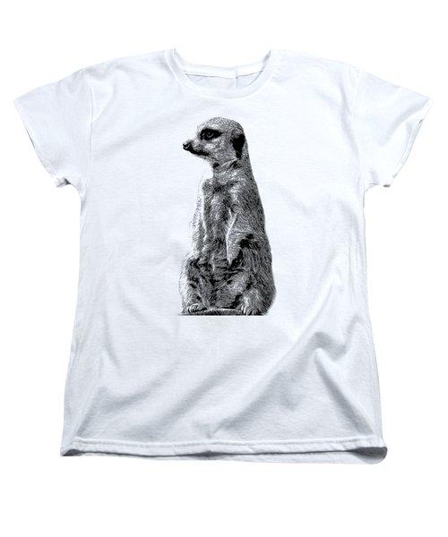 Meerkat Etching Women's T-Shirt (Standard Cut) by Greg Noblin