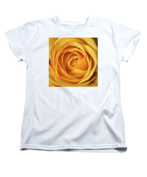Women's T-Shirt (Standard Cut) featuring the photograph Mellow Yellow Rose Square by Terry DeLuco