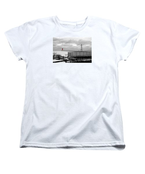 Women's T-Shirt (Standard Cut) featuring the photograph Menominee North Pier Lighthouse On Ice by Mark J Seefeldt