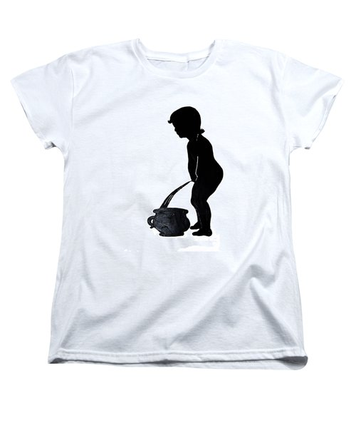Mens Room Sign Silhouette Women's T-Shirt (Standard Cut) by Sally Weigand