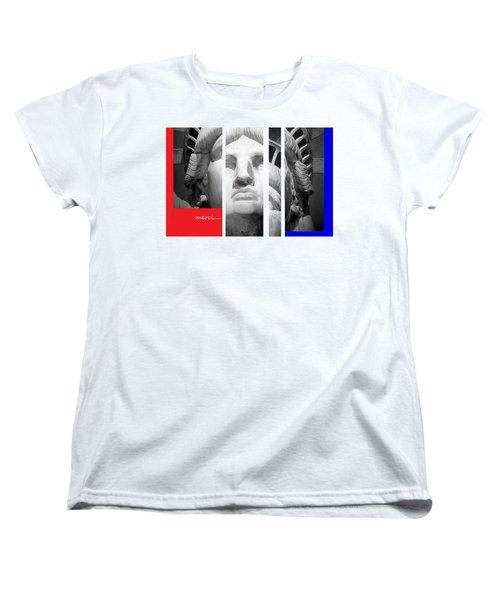 Women's T-Shirt (Standard Cut) featuring the mixed media Merci by Andrew Drozdowicz