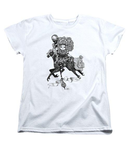 Merry-go-round Girl Women's T-Shirt (Standard Cut) by Akiko Okabe