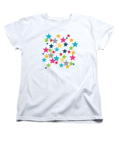 Women's T-Shirt (Standard Cut) featuring the painting Messy Stars- Shirt by Linda Woods