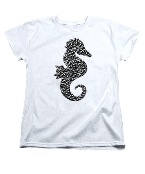 Metallic Seahorse Women's T-Shirt (Standard Cut) by Chris Butler