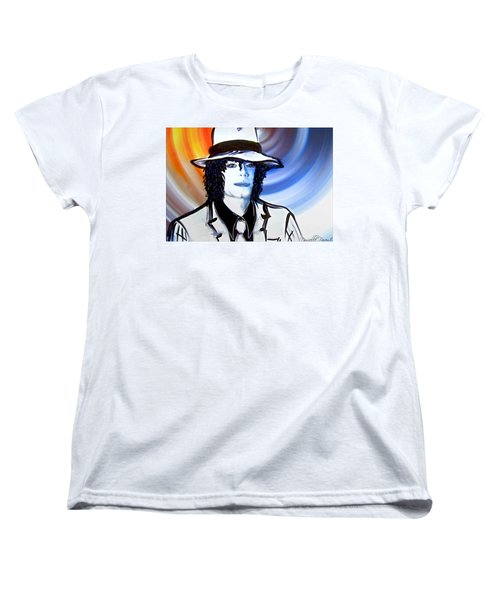 Women's T-Shirt (Standard Cut) featuring the painting Michael Jackson White Fedora Alcohol Inks by Danielle  Parent
