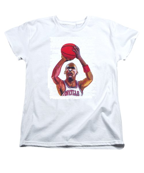 Women's T-Shirt (Standard Cut) featuring the painting Michael Jordan by Emmanuel Baliyanga