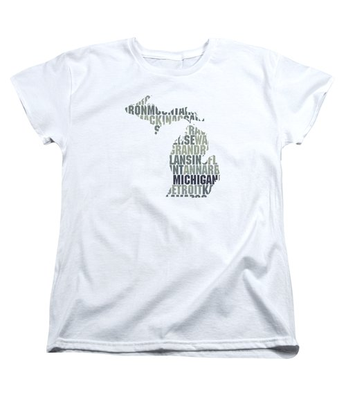 Michigan State Outline Word Map Women's T-Shirt (Standard Cut) by Design Turnpike