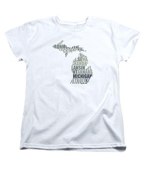 Michigan State Outline Word Map Women's T-Shirt (Standard Cut)