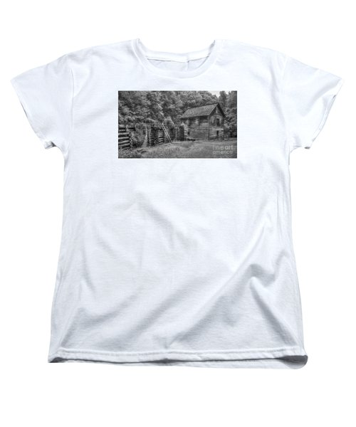 Women's T-Shirt (Standard Cut) featuring the photograph Mingus Mill Black And White Mingus Creek Great Smoky Mountains Art by Reid Callaway