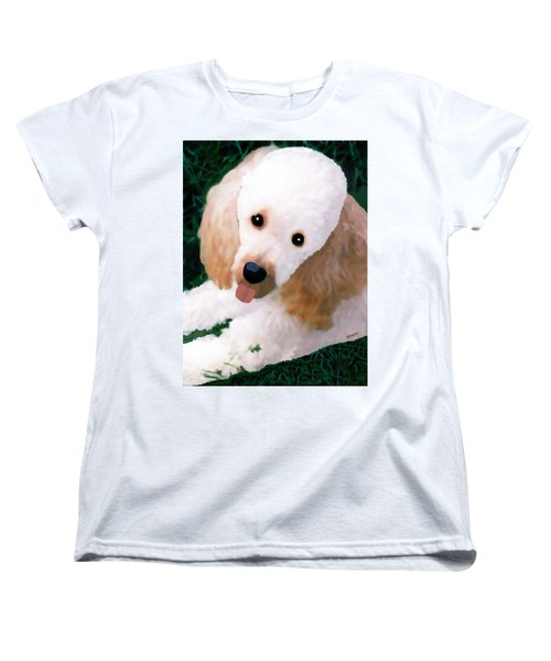 Miniature Poodle Albie Women's T-Shirt (Standard Cut) by Marian Cates