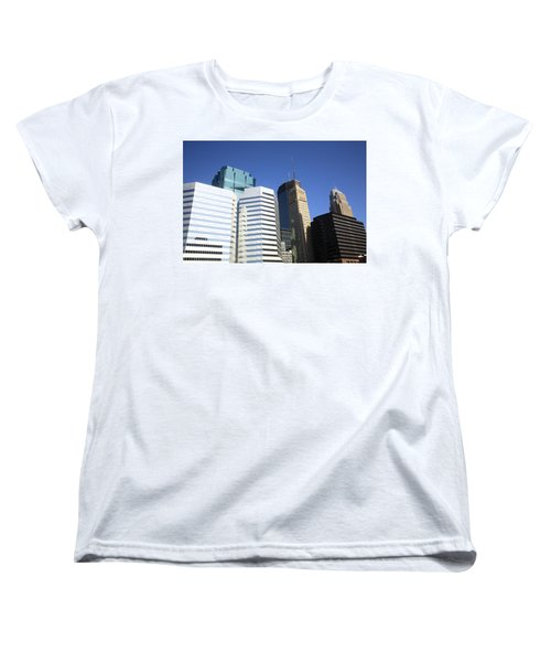Women's T-Shirt (Standard Cut) featuring the photograph Minneapolis Skyscrapers 11 by Frank Romeo