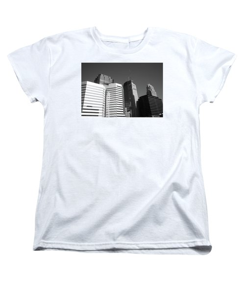 Women's T-Shirt (Standard Cut) featuring the photograph Minneapolis Skyscrapers Bw 5 by Frank Romeo