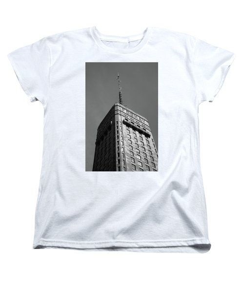 Women's T-Shirt (Standard Cut) featuring the photograph Minneapolis Tower 6 Bw by Frank Romeo