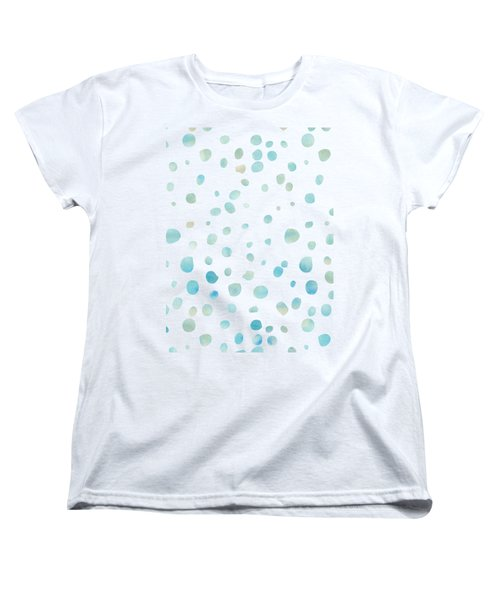 Mint Blue Watercolor Confetti Dots Women's T-Shirt (Standard Cut) by P S