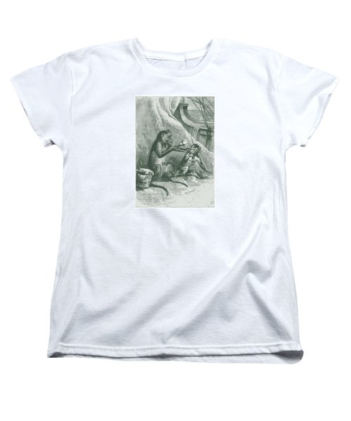 Mischievous Monkey Women's T-Shirt (Standard Cut) by David Davies