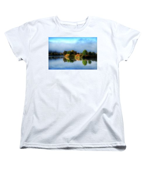 Misty Fall Colors On The River Women's T-Shirt (Standard Cut)
