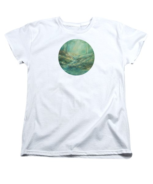 The Misty Forest Stream Women's T-Shirt (Standard Cut) by Mary Wolf