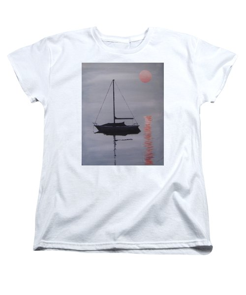 Misty Morning Mooring Women's T-Shirt (Standard Cut) by Jack Skinner