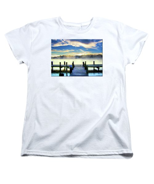 Women's T-Shirt (Standard Cut) featuring the photograph Misty Morning On Rock Creek by Brian Wallace