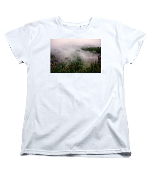Women's T-Shirt (Standard Cut) featuring the photograph Misty Pines by Lana Trussell