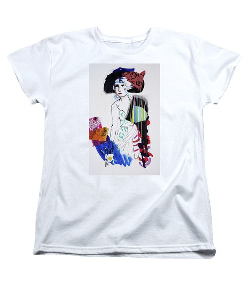 Model With Fashion Hat And Chawl Women's T-Shirt (Standard Cut) by Amara Dacer
