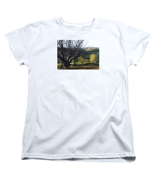 Women's T-Shirt (Standard Cut) featuring the painting Moel Famau From Loggerheads by Harry Robertson